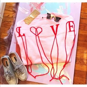 Sweaters - LOVE Knit Sweater Pink Red Valentine's Day Small